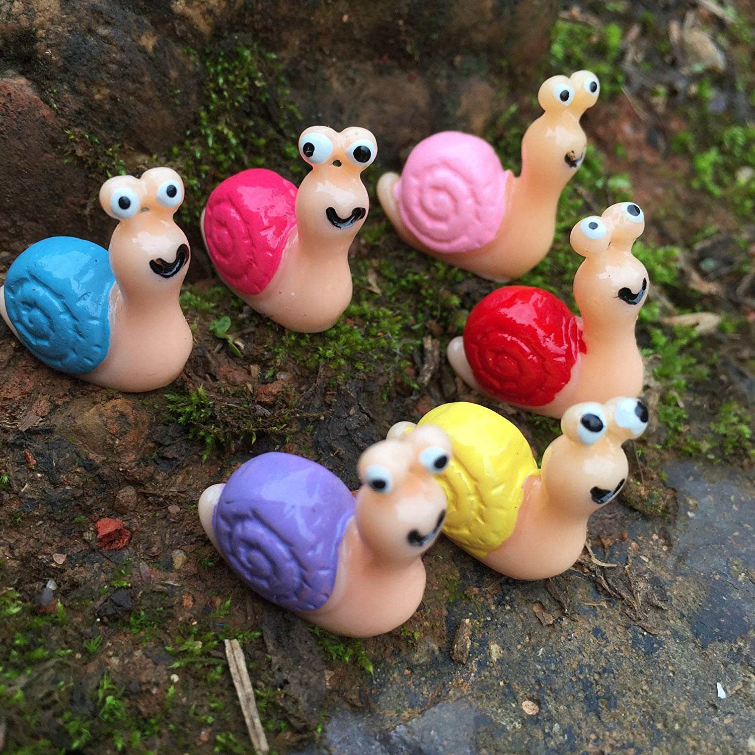6 Pcs Snail Resin Crafts, Miniature Fairy Garden Ornament Outdoor Decor Home Decoration, Baby Shower Favor Table Scattering