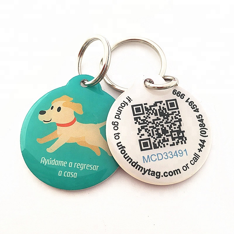 Wholesale gifts custom stainless iron qr code pet tags with epoxy cover