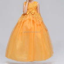 Colourful Kids Birthday Elegant Frocks Fashion Show Orange Skirts Dancing Tulle Bow Popular 12Y