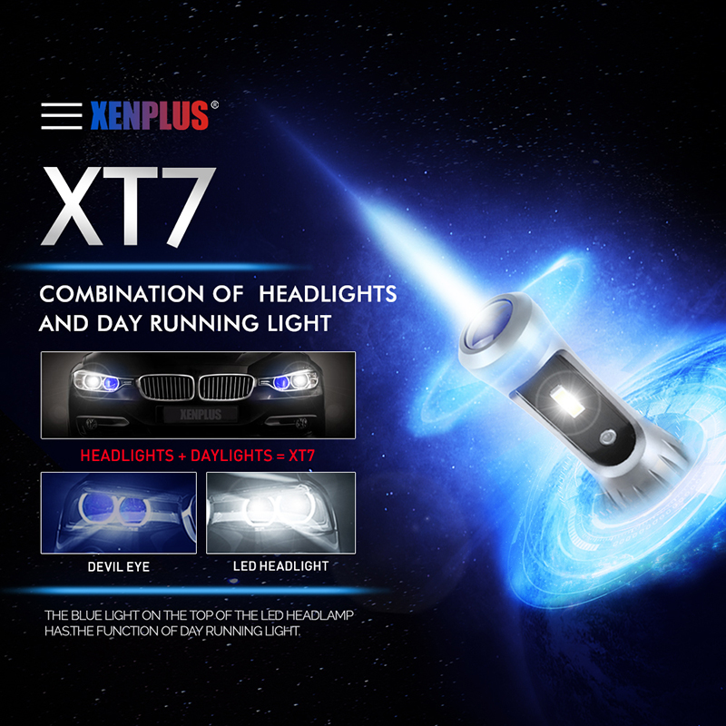 Xenplus new led headlight xt7 super bright hot sell 9006 8000lm 9005 h7 h4 h3 h1