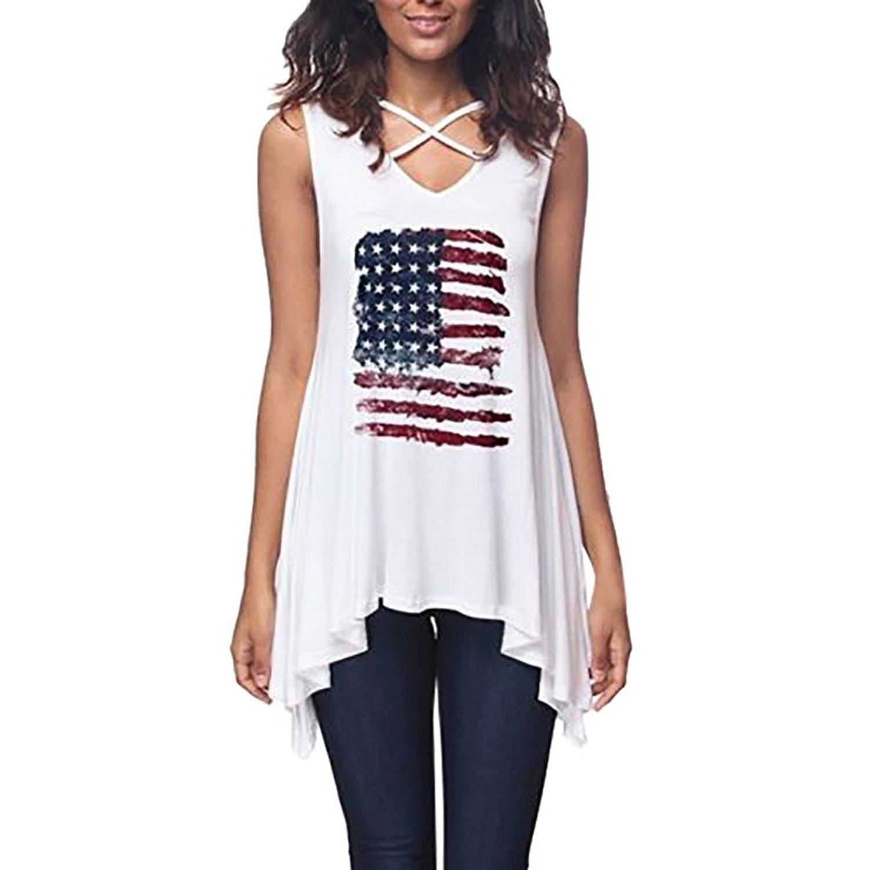 Flurries Womens T-Shirt, Women American Flag Printing Sleeveless Irregular Tops Blouse T-Shirt 4th of July USA
