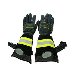 HI VIZ Sheepskin Leather Long Sleeve firefighter gloves heat resistant Safety Work Gloves