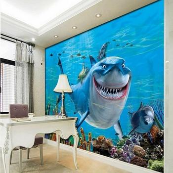 Kids Wallpaper Ikan Dunia Bawah Laut 3d Stereo Lobi Mural