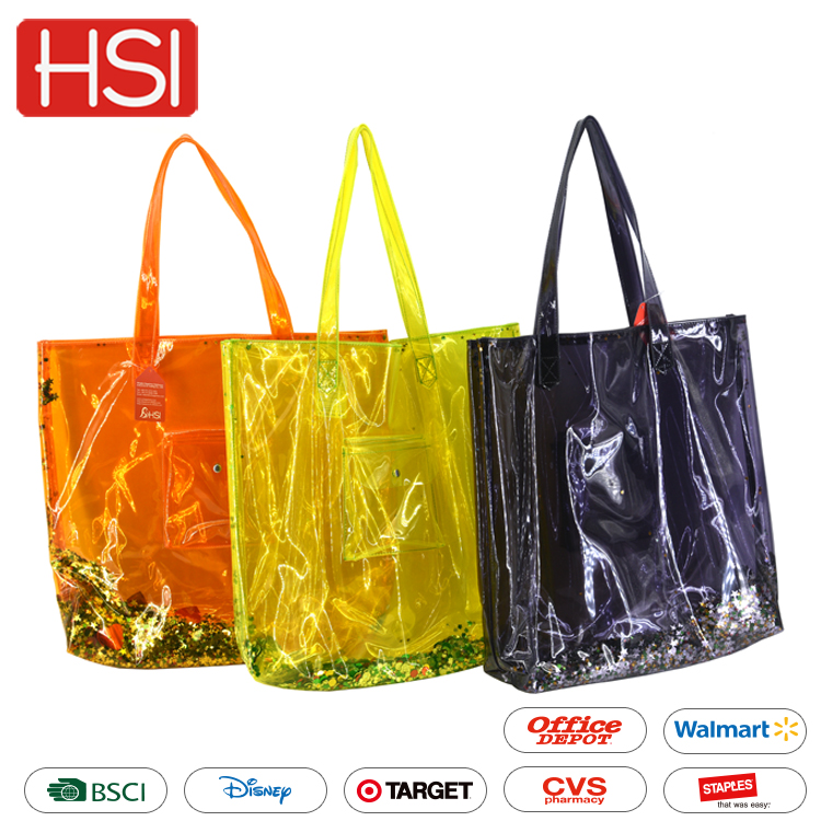 Wholesale promotional hot sale high quality waterproof handbags fashion shopping clear pvc tote bag