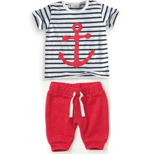 Infant Baby Boys Sets Striped T shirt Tops Red Pants 2pcs Outfits Toddlers Suits Clothes 0