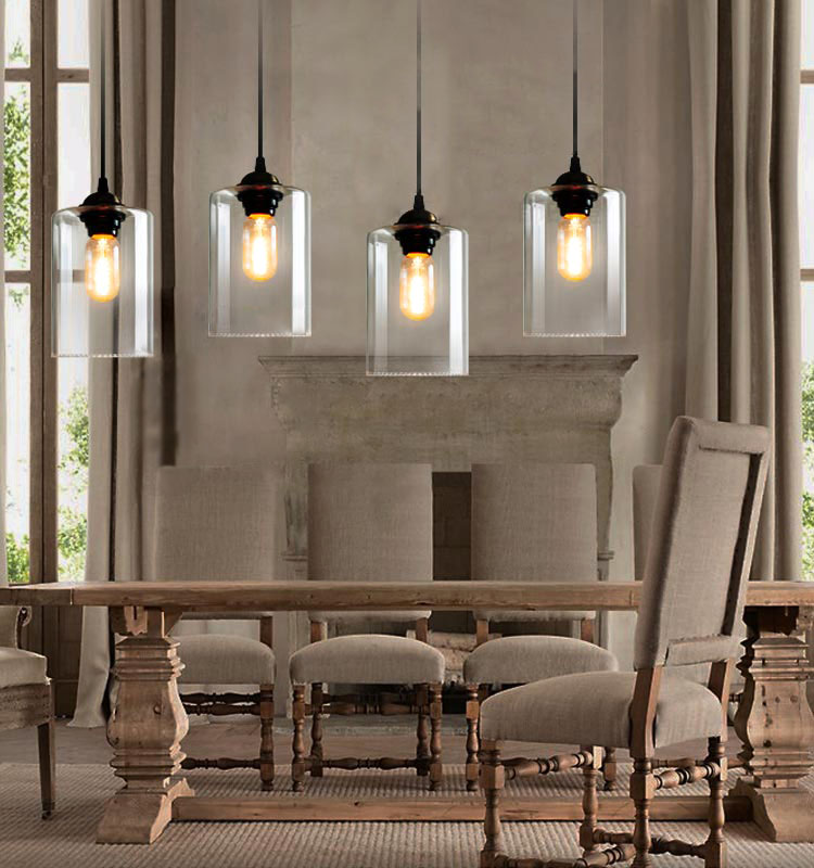 retro vintage industry american country clear glass pendant light restaurant dining room hotel. Black Bedroom Furniture Sets. Home Design Ideas
