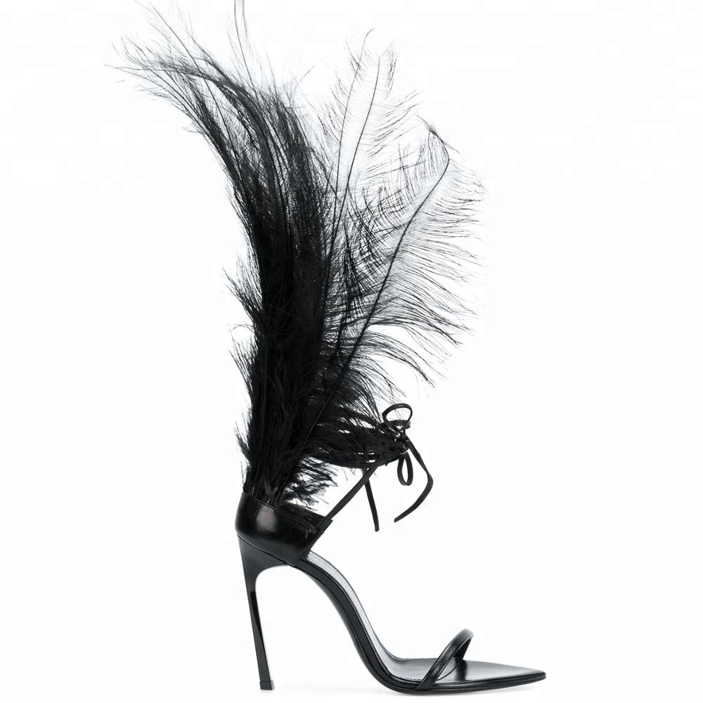 Wholesale new fashion sexy feather ankle women <strong>sandals</strong> lace up stiletto high heels ladies <strong>sandals</strong>