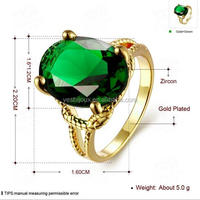 New Style Product Big Emerald Green Zircon Charm Ring