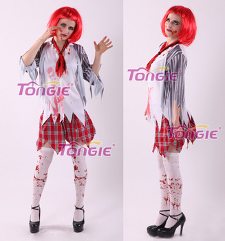 high school horror zombie costume halloween blood ghost costumes woman