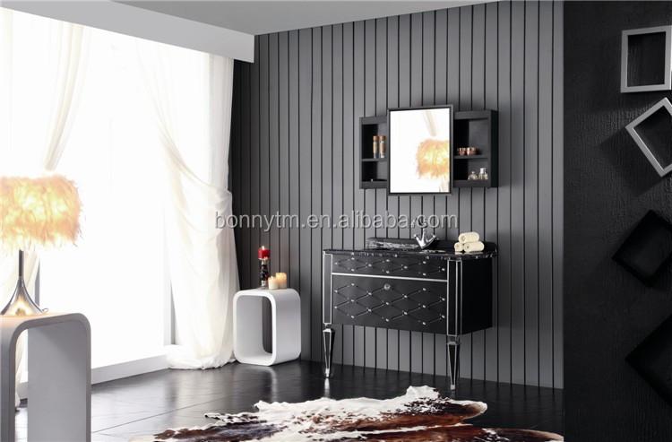 Italiaanse zwarte decoratieve ontwerp met silding spiegelkast