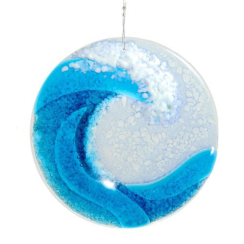 Modern Artisans Ocean Wave Fused Glass Sun Catcher, Handmade in USA