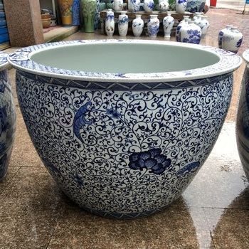 32inches Width Large Chinese Hand Painted Blue And White Ceramic
