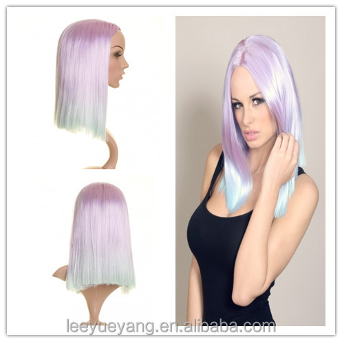 New style light purple to light blue ombre straight wigs