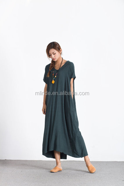 Bat sleeves Women/'s linen maxi dress oversize bridesmaid dress asymmetry linen caftan summer linen large size dress plus size clothing  A64