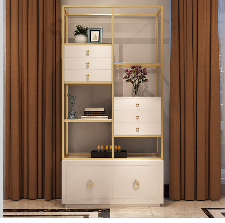 Open Back Home Bookshelf Furniture Modern Luxury Office Bookcase Custom Gold Stainless Steel Frame 8 Inch High Bookcase