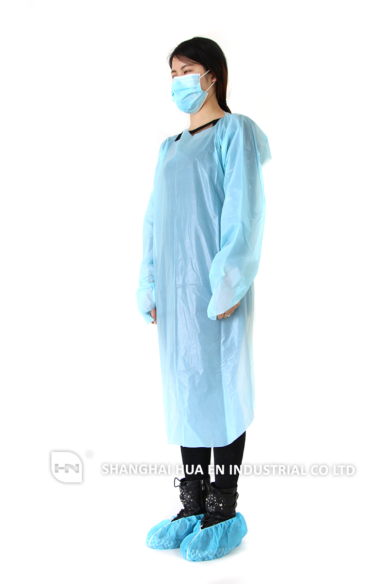 Hospital Disposable Waterproof Cpe Isolation Gowns And Cap