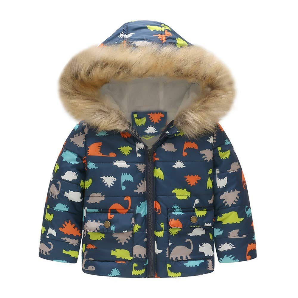 Sameno Toddler Baby Girl Boy Floral Dinosaur Winter Warm Hooded Coat Jacket Windproof Outerwear Clothes