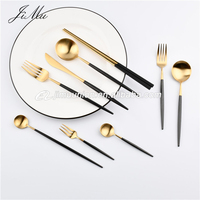 Luxury black and gold cutlery set spoons forks knives stainless steel turkish flatware for wedding