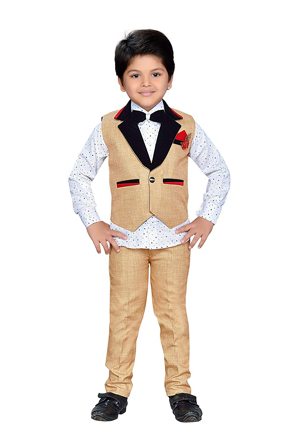 4c72fdbeb5 AJ Dezines Kids Indian wear Bollywood Style Shirt Waistcoat and Pant  Clothing Set for Boys