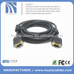 Black 5m 15pin vga cable For lcd hdtv crt monitor projectors