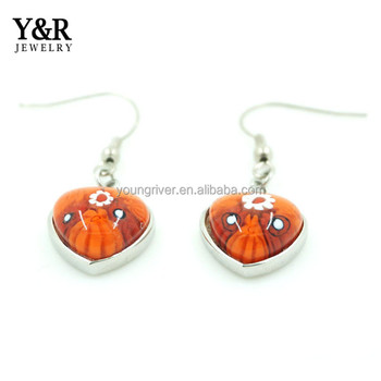 Fancy Orange-red Heart Murano Glass Earrings Jhumka Design