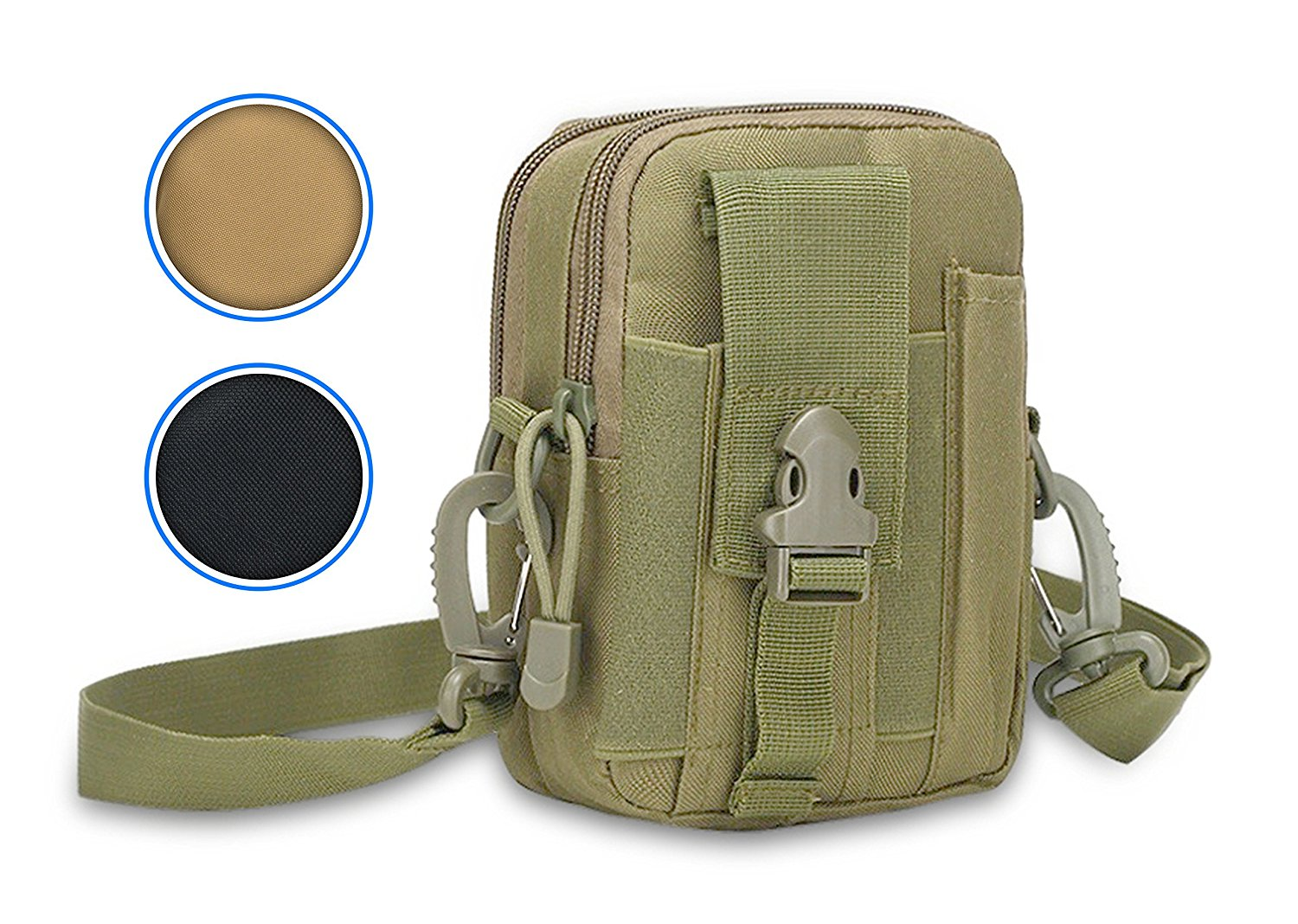 cdb0e6ba808 Rootless Tactical MOLLE Outdoor Phone Bag   Small Cell Phone Gadget Pack -  Includes Shoulder Strap