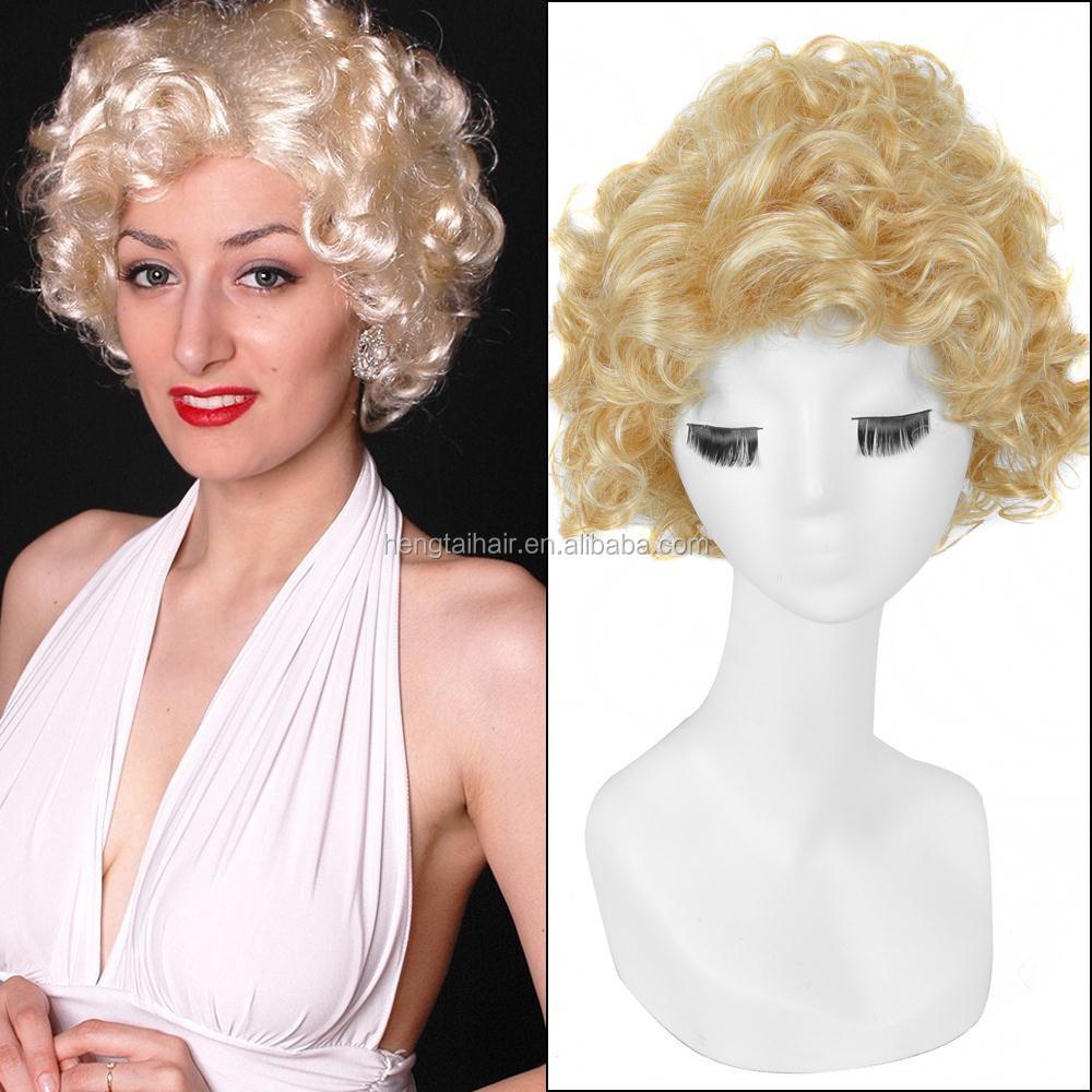 30cm Yellow Short Kinky Curly Haircuts Marilyn Monroe Cosplay