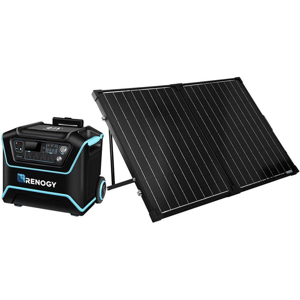 Renogy – Lycan Powerbox – Portable Outdoor Solar Power Generator with Two 100W Renogy Solar Panel Suitcases