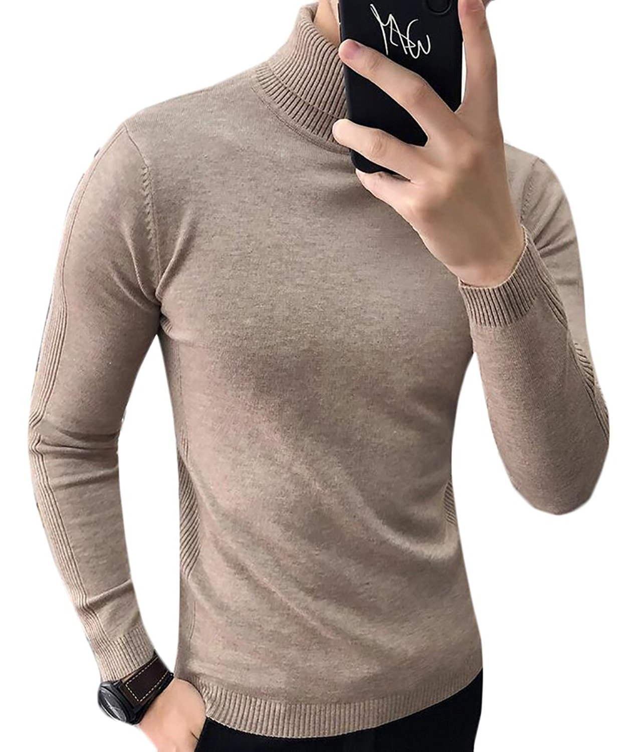 XQS Mens Autumn Casual Turtleneck Slim Fit Pullover Sweaters