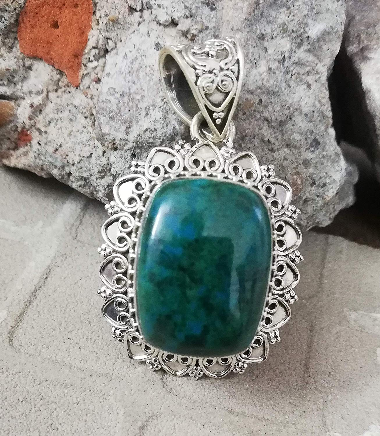 Chrysocolla Pendant 925 Sterling Silver Exquisite Jewellery Long Statement Pendant Handmade Ethnic Gypsy Pendant Delicate Cushion Pendant Extremely Unusual Pendant Victorian Pendant Filigree Jewelry