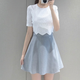 New design Small summer new ladies authentic Korean cultivating lace stitching Chiffon Dress Skirt