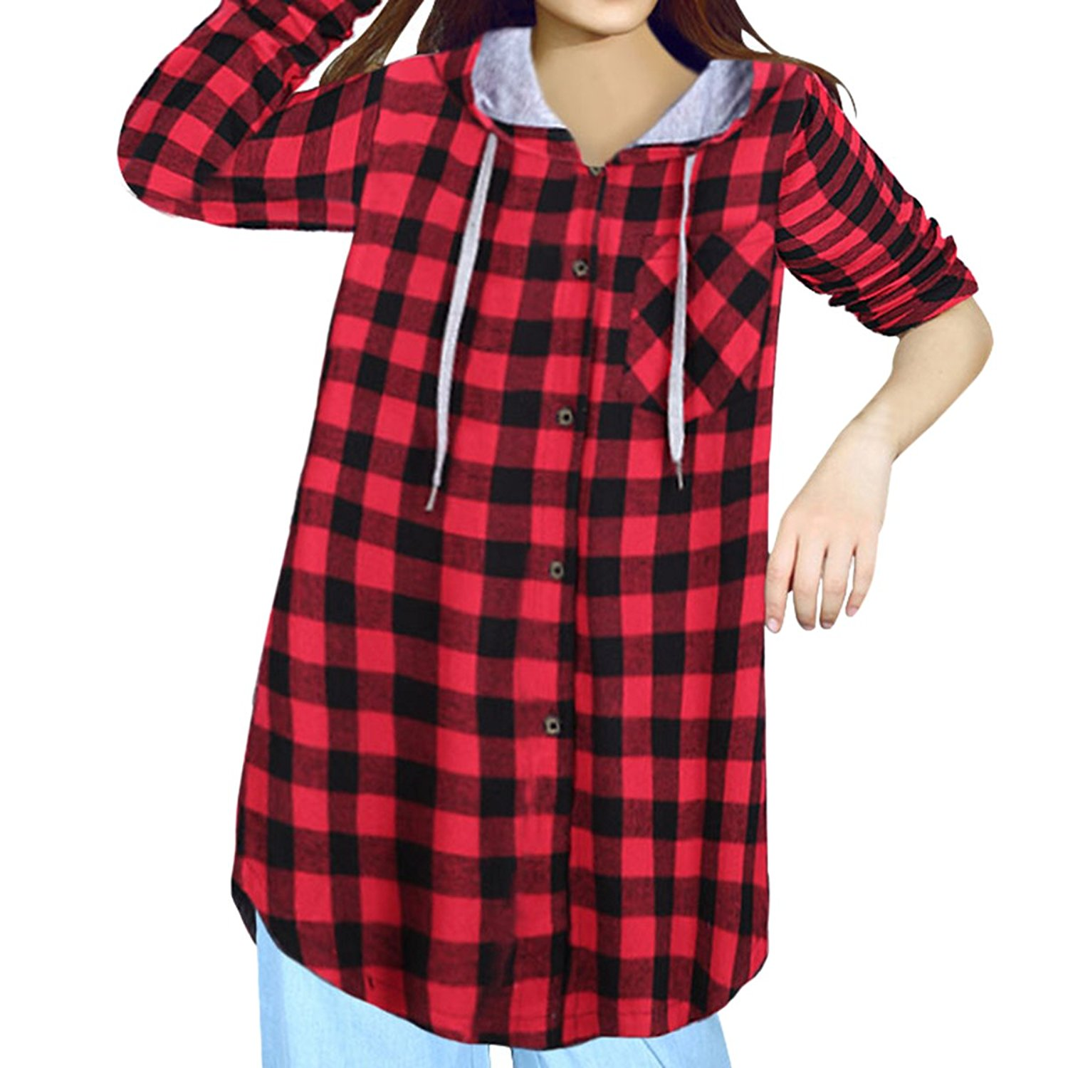 26ac88b45adbc Get Quotations · E.JAN1ST Women's Hoodie Jacket Flannel Plaid Loose Fit  Oversized Boyfriend Shirt