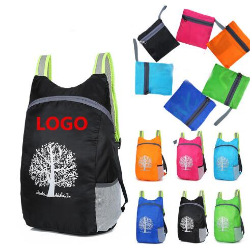 Custom Promotional Sport Foldable Backpack Light Weight Polyester Folding Backpack Bag With Logo