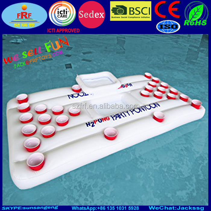 H2PONG Inflatable Beer Pong Float Raft with Built in Cooler