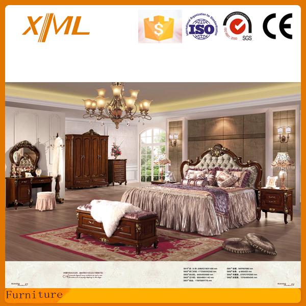 Luxury Elegant King Size Bedroom Furniture Antique Bed