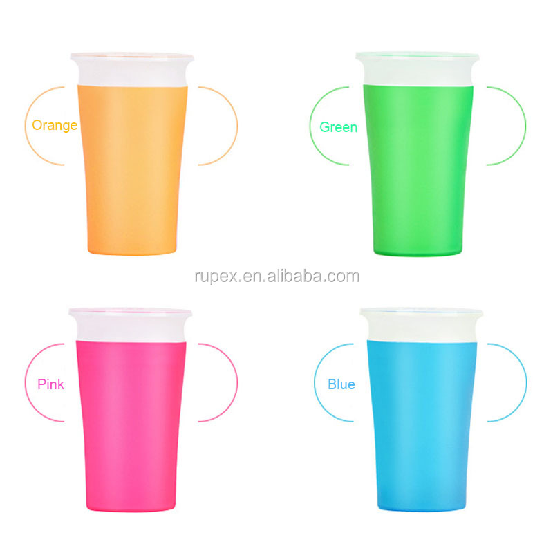 China factory new design magic anti spill 260ml plastic 360 degree rotation baby sippy cup