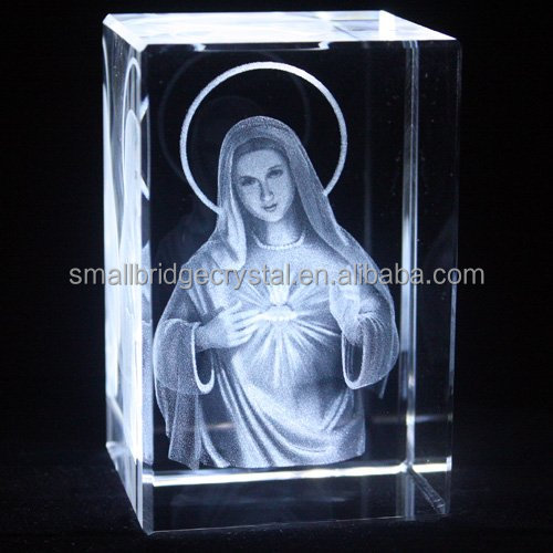 3d laser engrave <strong>crystal</strong> religious the Virgin Mary