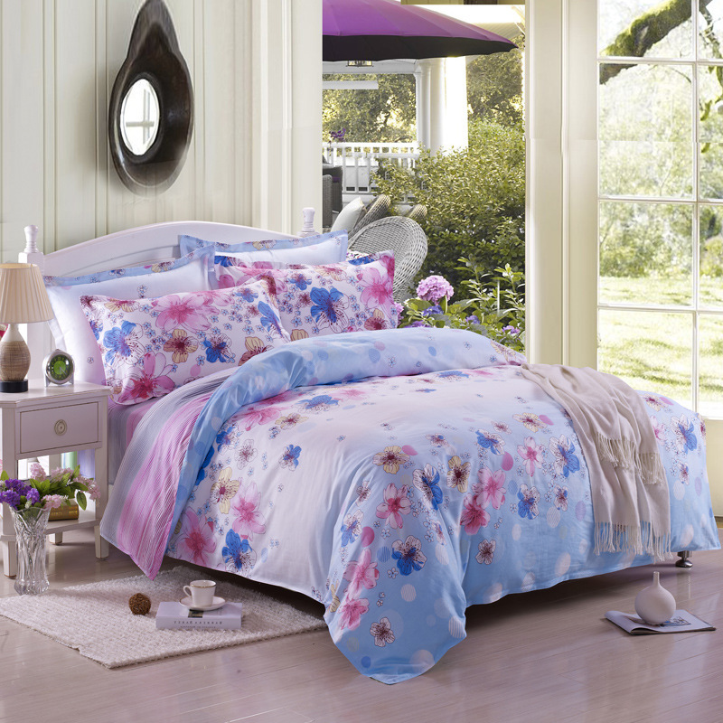 pastoral style high quality cotton floral romantic comforter bedding set 4pcs light blue and. Black Bedroom Furniture Sets. Home Design Ideas