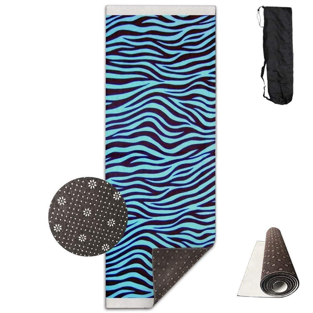 QNKUqz Trippy Turquoise Zebra Stripe Deluxe Yoga Mat Aerobic Exercise Pilates
