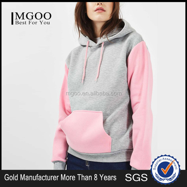a85455c59 Hot Sale Grey And Pink Custom Color Contrast Hoodies 100 Cotton Fleece  Wholesale Plain Pocket Hoodies