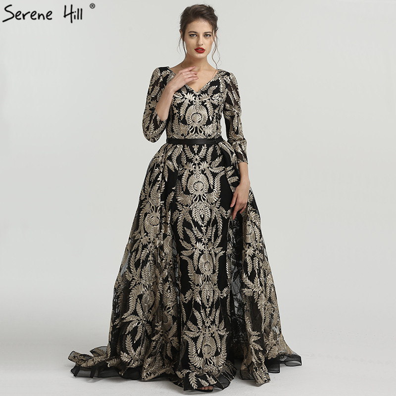 8e25ef9035923 2019 Black Muslim V-Neck A-Line Vintage Evening Dresses New Embroidery  Luxury Evening Gowns Serene Hill LA6528