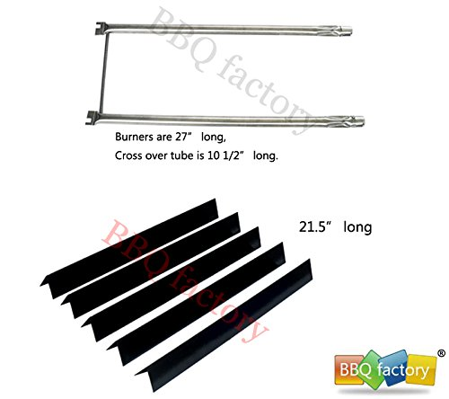 bbq factory® Replacement Weber Spirit 500 and Genesis Silver A grills Repair Kit Porcelain Steel Flavorizer Bars and Stainless-Steel Burner Tube Set