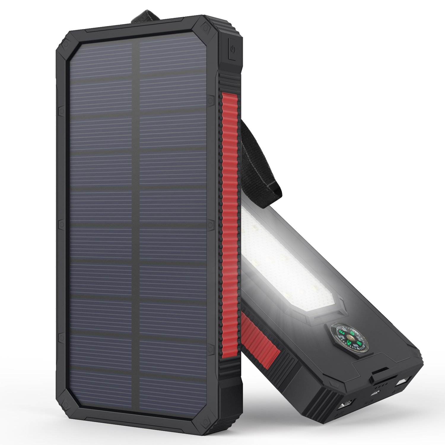 Solar Charger, MeGa 10000mAh Portable Solar Power Bank Waterproof Dual USB Battery with Led Flashlight for iPhone, Samsung, Android phone, GoPro Camera, GPS