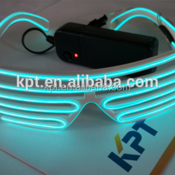 Manufacturer EL lighting 10 color sunglasses, rave party glowing shutter sunglasses, 3V battery inverter glowing sunglasses