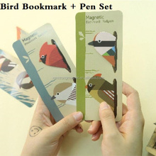 New Cute Birds design Mini Magnetic Bookmark set With mini pen/office school stationery supplies/Refrigerator magnet