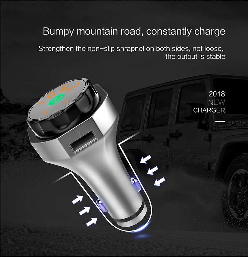 GXYKIT 2018 new arrival bluetooth car kit multifunctional car charger with safety hammer function car mp3 player hot seiiling