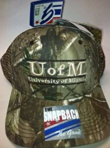 buy online 2504e 52c99 NCAA Officially Licensed University of Miami Hurricanes Realtree Camo Bar  Design Embroidered Mesh Hat