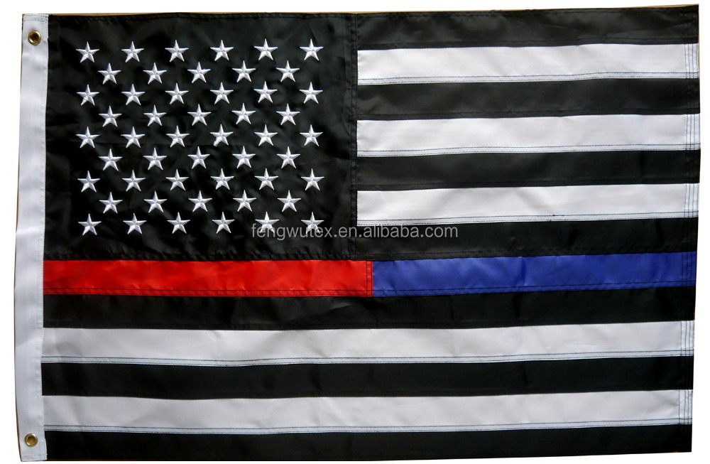 factory direct 210D Nylon 2x3ft embroidered USA Thin Red Blue Line flag