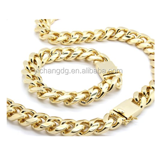 Mens 14k Gold Plated 18mm Heavy Thick Cut Hip Hop Chain and Bracelet 30inch Cuban Necklace