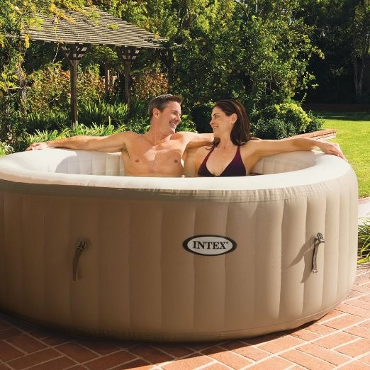 "Pool Type inflatable bathtub SPA pool PureSpa Bubble Massage 4-Person Portable Hot Tub, Round, 77"", Sahara Tan"